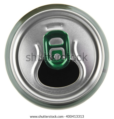 metal can of beer isolated on white background