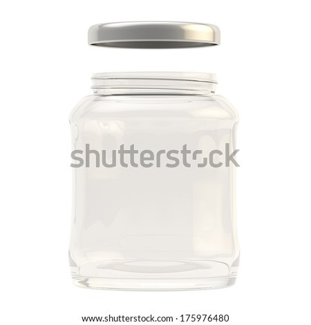 Metal cap over a glass jar isolated over white background