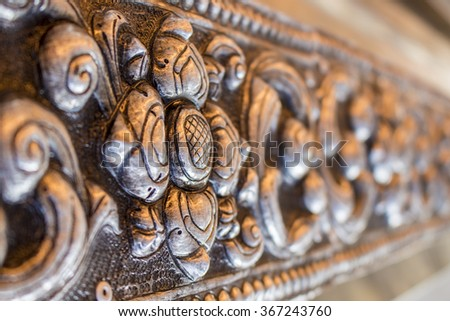 Metal carvings - silver patterns - stock photo