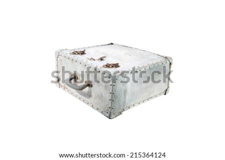 Metal case,Old case of film and rust on metal.isolated on white with clipping path - stock photo