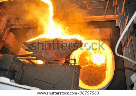 metal casting process - stock photo