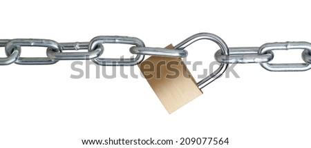 Metal chain and padlock - stock photo
