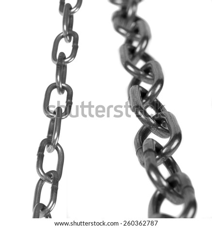 Metal chain parts isolated on white background.
