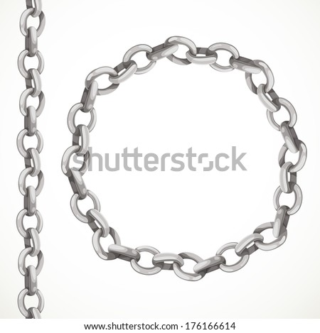 Metal chain seamless line and closed in a circle