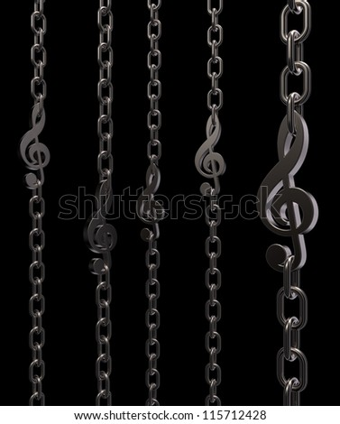 metal chains with clef on black background - 3d illustration