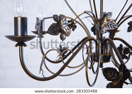 Metal chandelier with a flower decor close-up. Glamour background with copy space