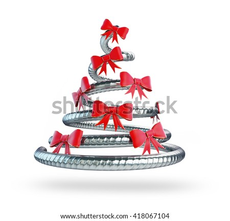 metal Christmas tree 3D rendering, 3D illustration - stock photo
