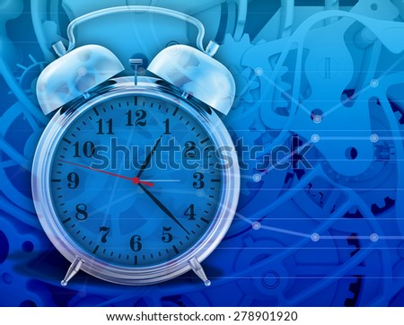 metal chrome alarm clock isolated on abstract background. - stock photo