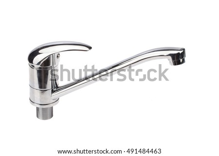 Metal chromium-plated water mixer on an isolated background