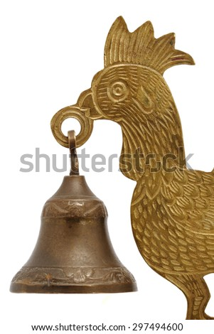metal cock with a bell isolated on white background - stock photo