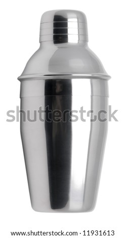 Metal cocktail shaker isolated on white. - stock photo