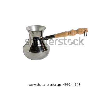 Metal coffee maker on a white background