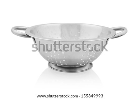Metal colander isolated on white background. Clipping path included