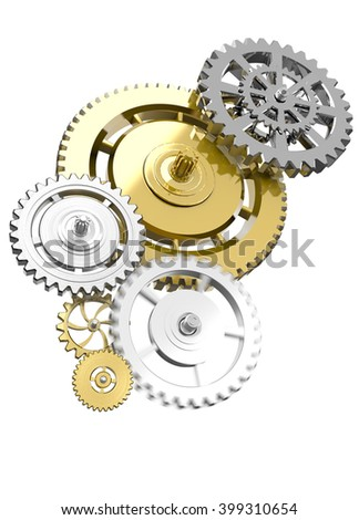 Metal collage of gears isolated on gray background - stock photo