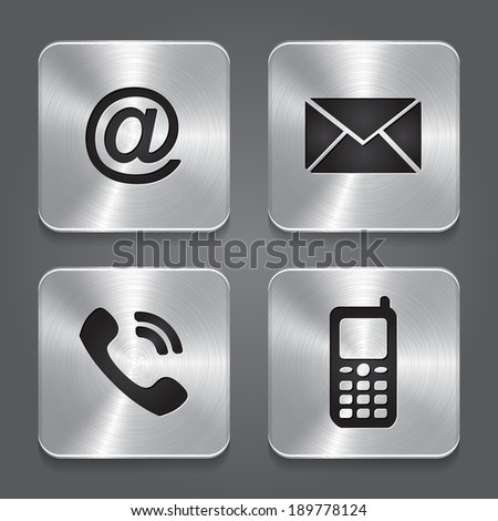 Metal contact buttons - set icons - email, envelope, phone, mobile.  - stock photo