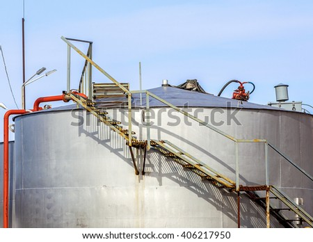 metal containers for storage of petroleum products on Kamchatka - stock photo