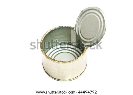 Metal containers of canned food on a white background close up