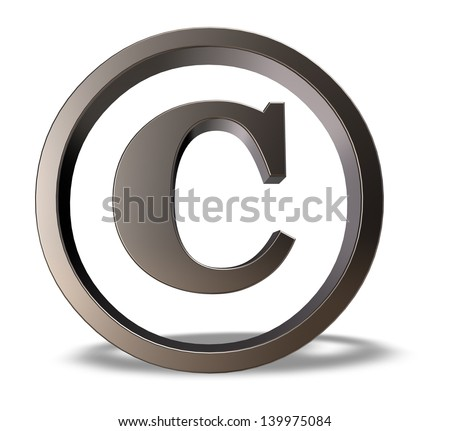 metal copyright symbol on white background - 3d illustration
