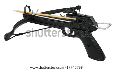 Metal crossbow handgun with wooden pencil isolated on white. - stock photo