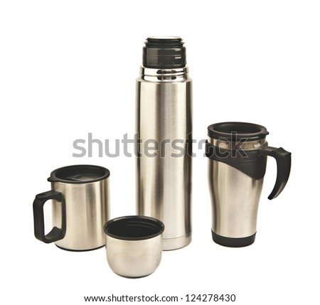 metal Cup and flask on a white background - stock photo