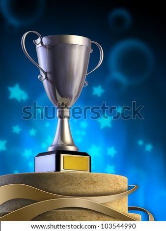 Metal cup on a pedestal. Digital illustration. - stock photo