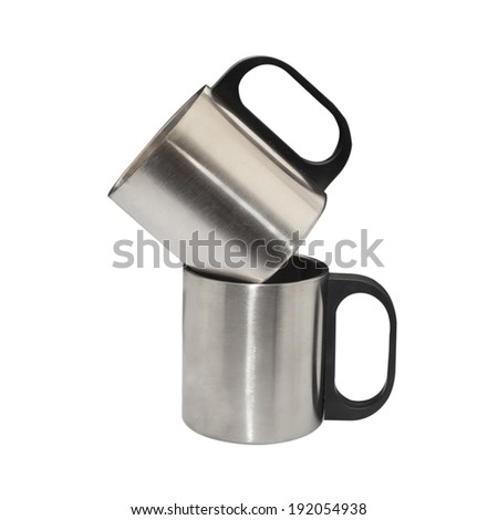 metal cup on white - stock photo
