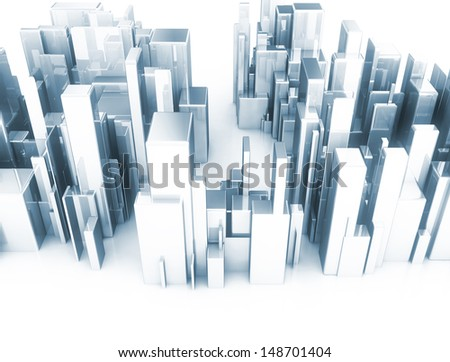 Metal 3d cubes abstract city scape model - stock photo