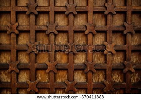 metal decorative lattice outside texture background horizontal - stock photo