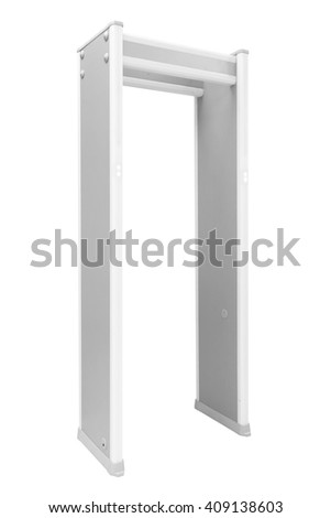 Metal detector door isolated on white background with clipping path