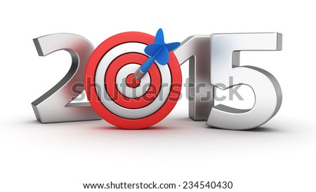 Metal digits of new year 2015 with small dartboard on white background - stock photo