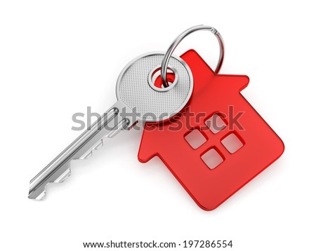 Metal door key with red house shaped key-chain isolated on white background - stock photo