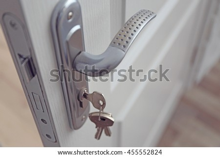 Metal door knob and keys closeup
