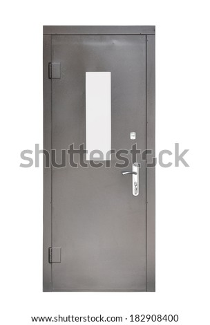 metal door on a white background - stock photo