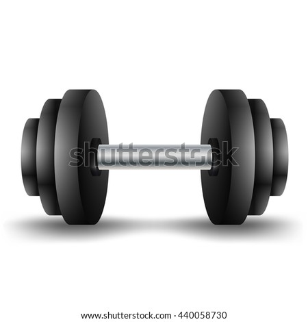 Metal dumbbell isolated on white background. Raster copy of vector file.