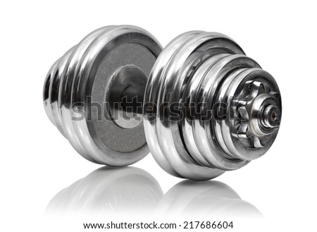 metal dumbbell  on a white background - stock photo