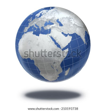 Metal Earth Planet isolated on white and clipping path The Earth texture of this image furnished by NASA - stock photo