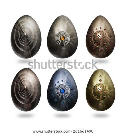 Metal eggs - stock photo