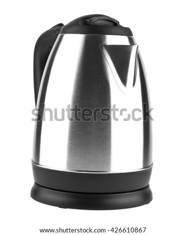 metal electric kettle isolated on white background closeup