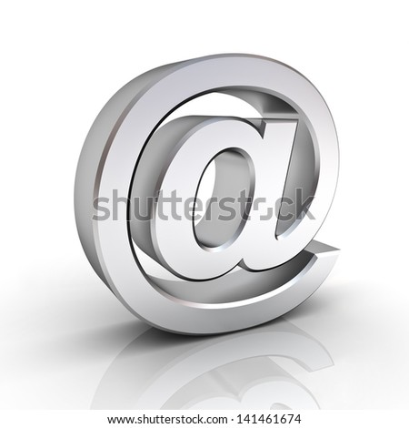 Metal email sign over white background with reflection - stock photo