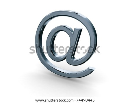 metal email symbol with high reflections - stock photo