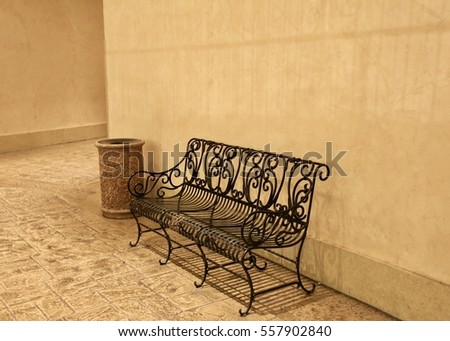 Metal empty bench