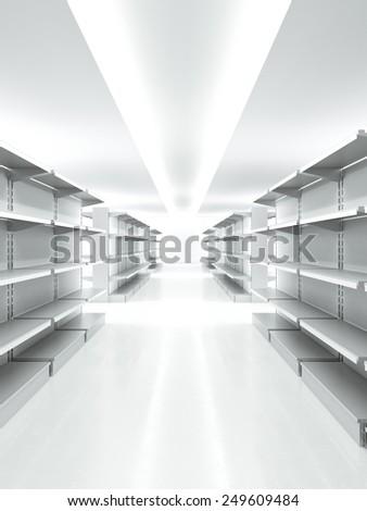 Metal empty retail shelves in market. 3d rendering - stock photo
