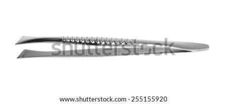 Metal eyebrow tweezers isolated on white - stock photo