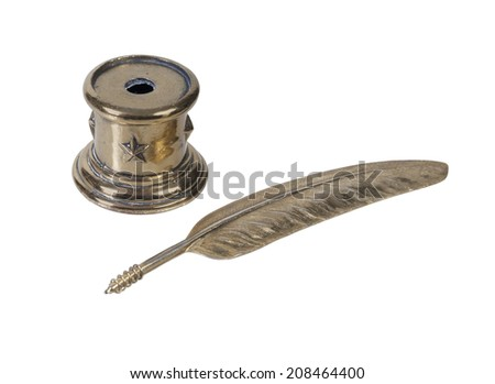 Metal feathered pen and holder for writing personal letters - path included - stock photo