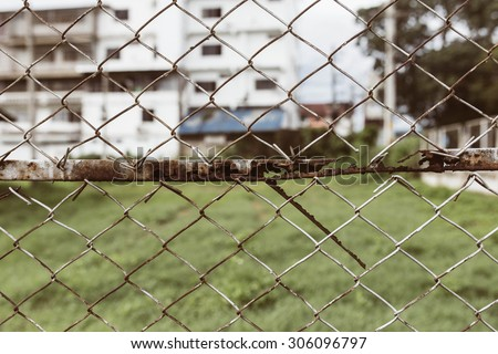 Metal fences, metal fences with the details of the background is green space.with clipping path