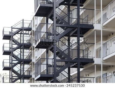 Metal fire escape outside apartment building for emergency
