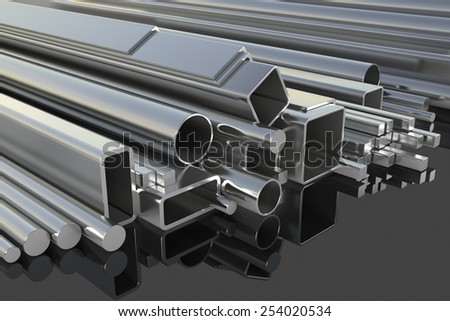 Metal fittings on warehouse. 3d illustration - stock photo