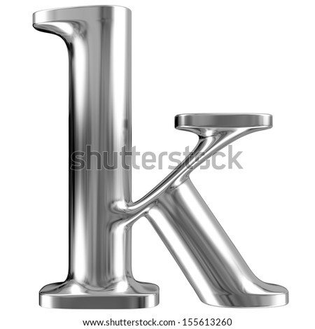 Metal font, lowercase letter k from chrome solid alphabet.