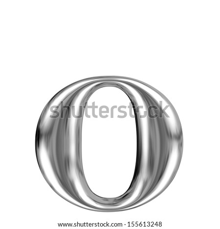 Metal font, lowercase letter o from chrome solid alphabet.