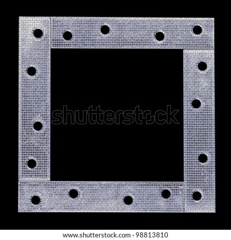 metal frame background on black - stock photo